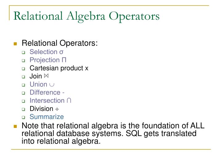 Relational algebra operators