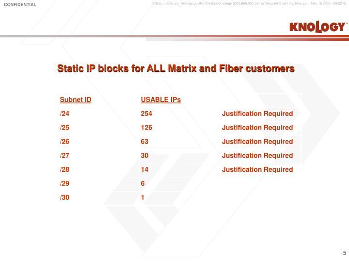 Static IP blocks for ALL Matrix and Fiber customers