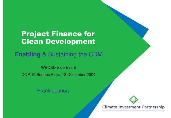 project finance for clean development n.
