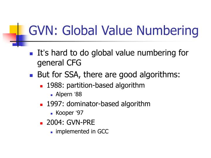 GVN: Global Value Numbering