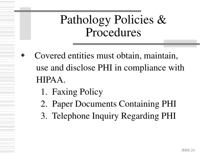 Pathology Policies & Procedures