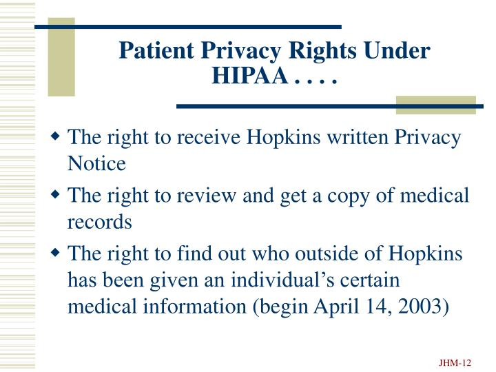 Patient Privacy Rights Under HIPAA . . . .