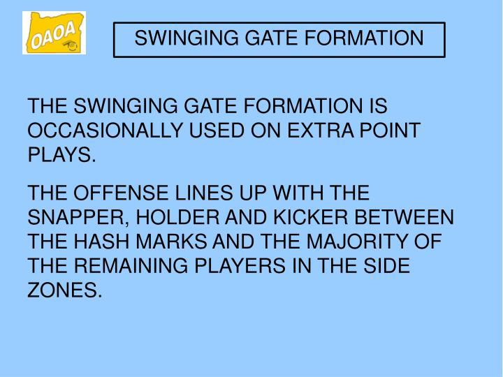 SWINGING GATE FORMATION