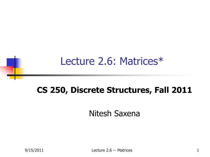 lecture 2 6 matrices n.