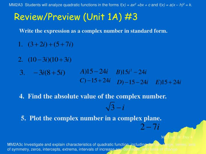 Ppt Write The Expression As A Complex Number In Standard Form