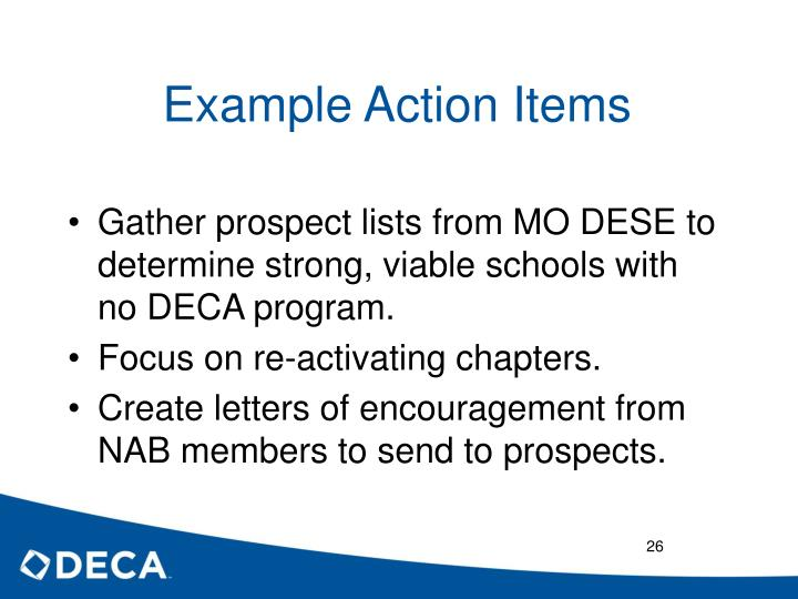 Example Action Items