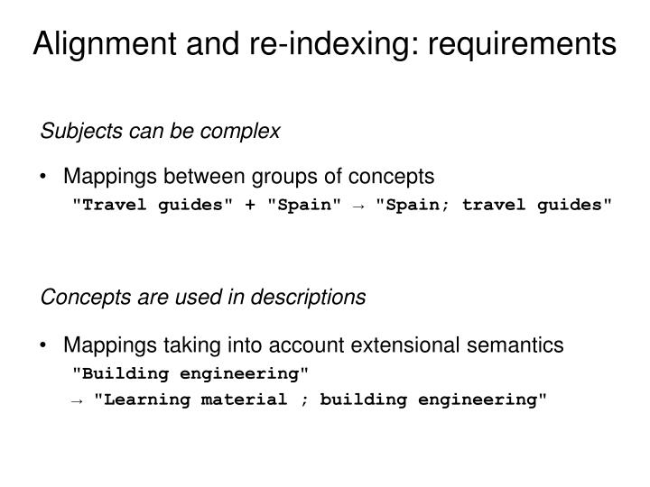 Alignment and re-indexing: requirements