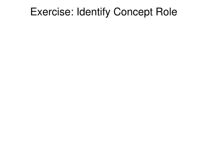 Exercise: Identify Concept Role