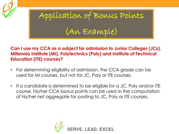 Application of Bonus Points