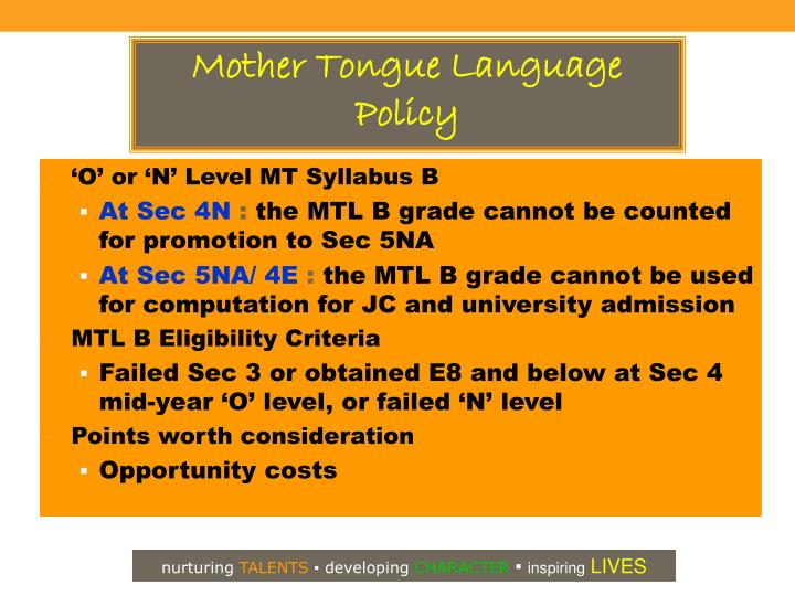 Mother Tongue Language Policy