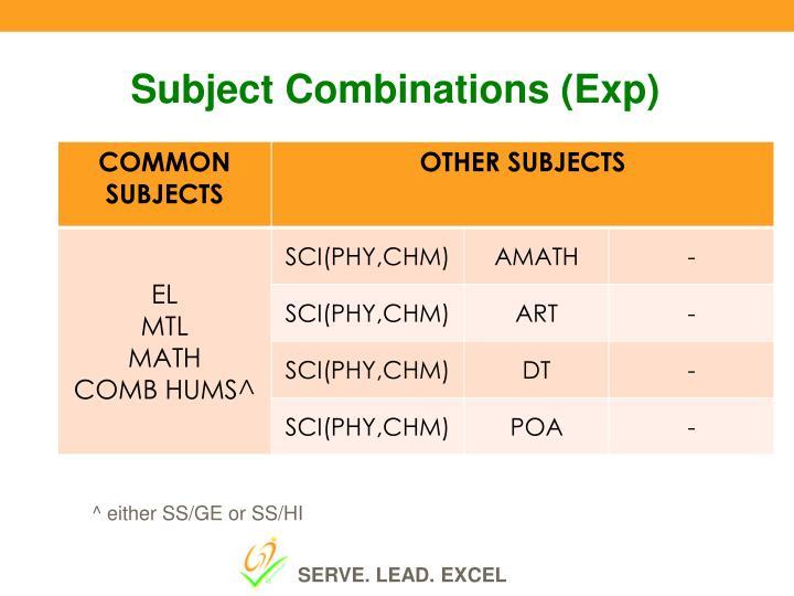 Subject Combinations (
