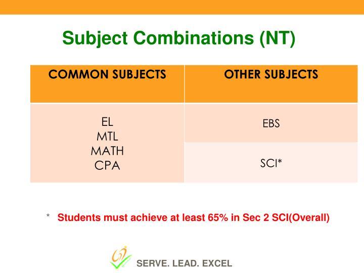 Subject Combinations (NT)
