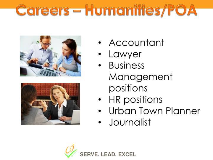 Careers – Humanities/POA