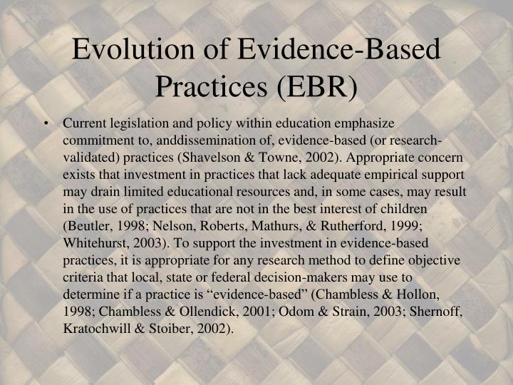 Evolution of Evidence-Based Practices (EBR)