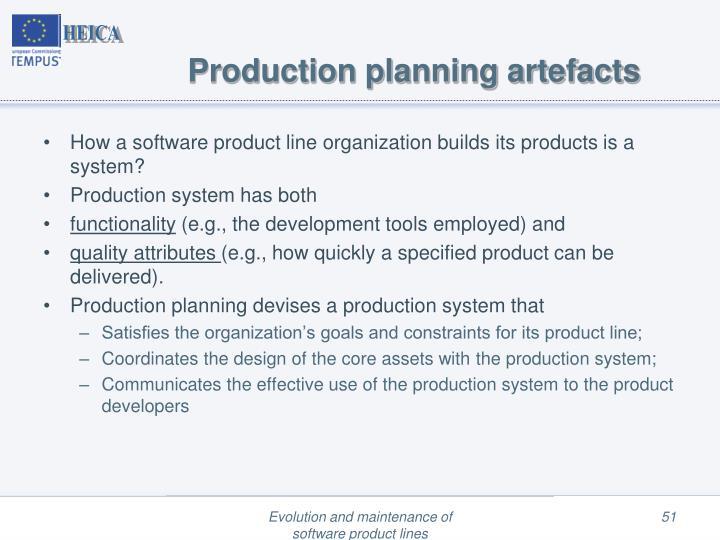 Production planning artefacts