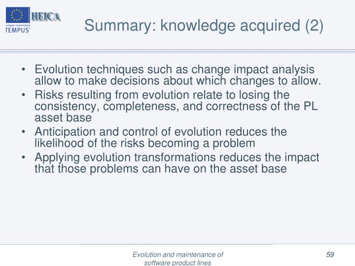 Summary: knowledge acquired (2)
