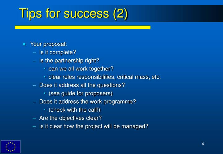 Tips for success (2)