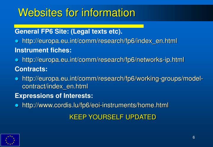 Websites for information