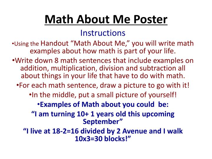 math about me poster n.