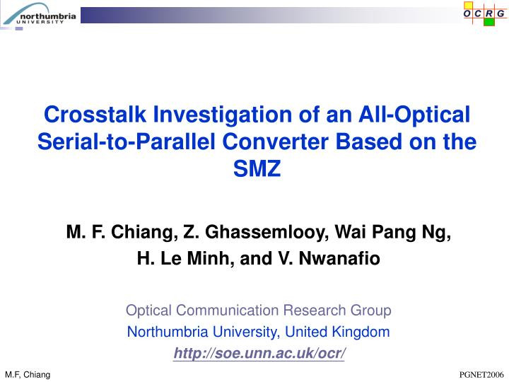 Crosstalk Investigation of an All-Optical Serial-to-Parallel Converter Based on the SMZ