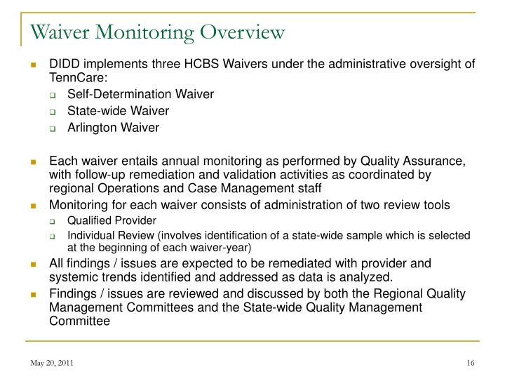 Waiver Monitoring Overview