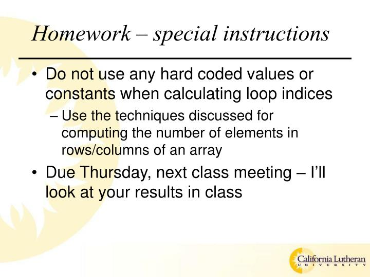 Homework special instructions