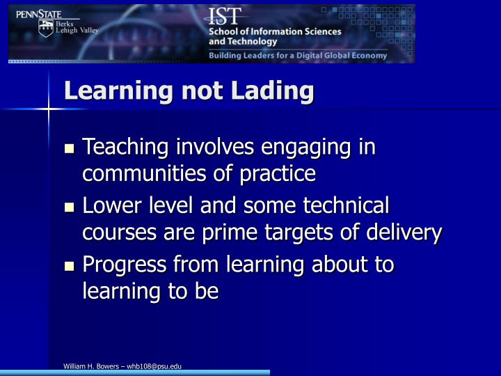 Learning not Lading