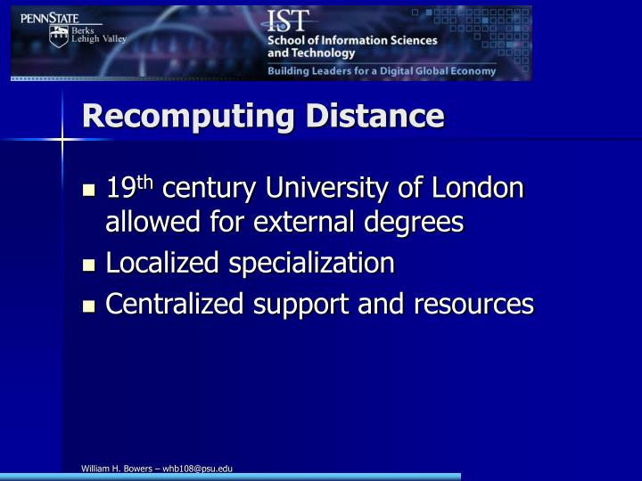 Recomputing Distance