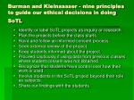 burman and kleinsasser nine principles to guide our ethical decisions in doing sotl