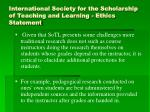 international society for the scholarship of teaching and learning ethics statement2