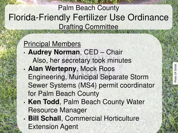 Palm beach county florida friendly fertilizer use ordinance drafting committee