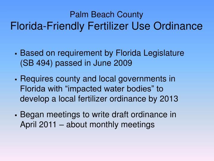 Palm beach county florida friendly fertilizer use ordinance