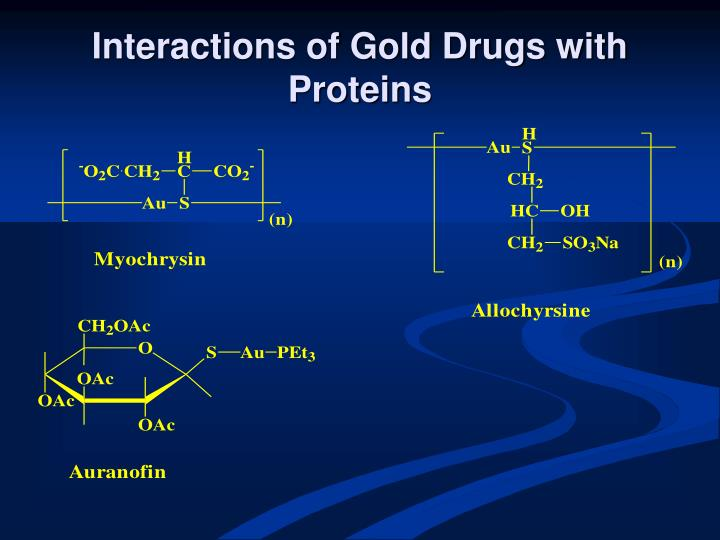 Interactions of gold drugs with proteins