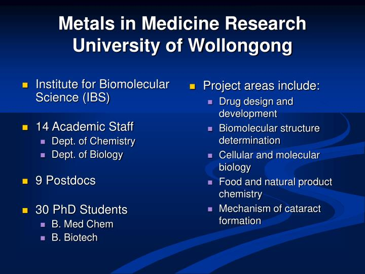 Metals in medicine research university of wollongong
