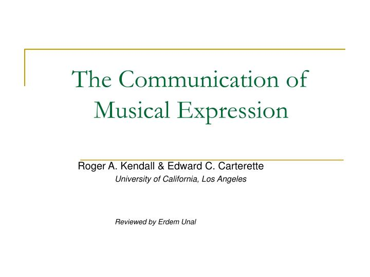 The communication of musical expression