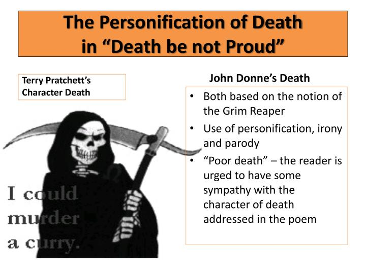 the portrait of death in death be not proud Death be not proud, though some have called thee  donne was obsessed  with the idea of death, and even posed for a painting wearing the same kind of.