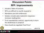 discussion points rfp improvements