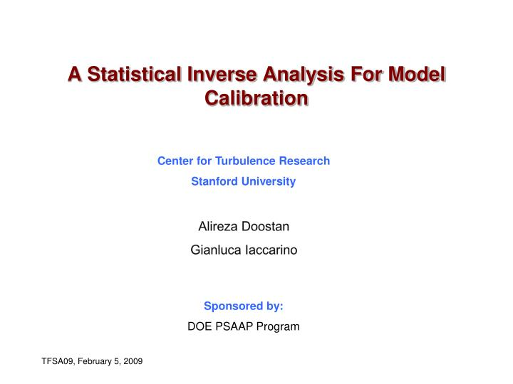 a statistical inverse analysis for model calibration n.