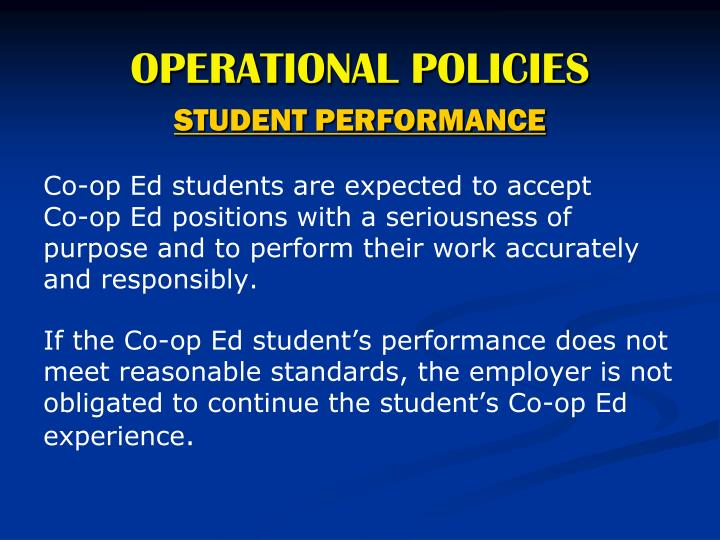 OPERATIONAL POLICIES
