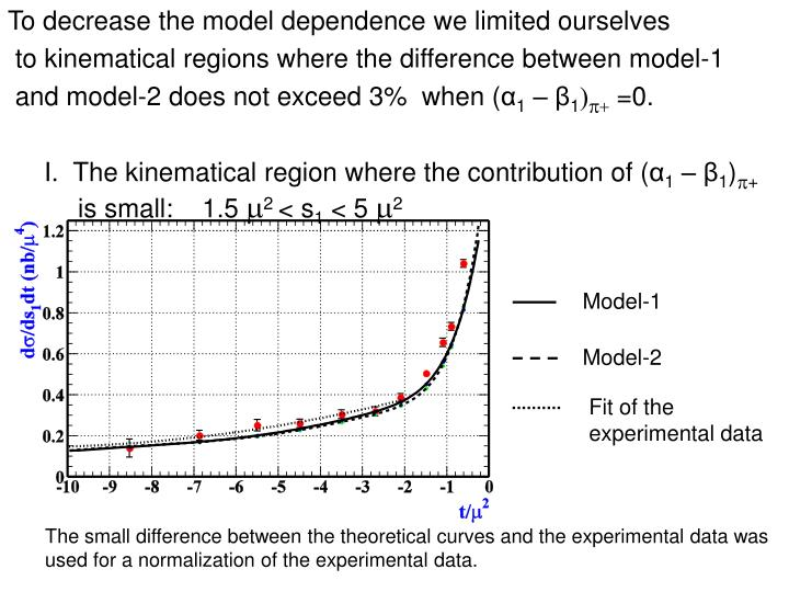To decrease the model dependence we limited ourselves