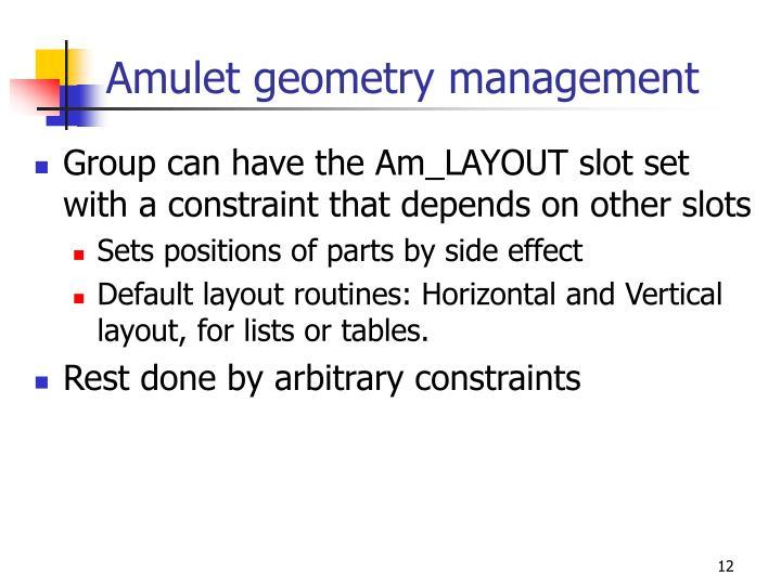 Amulet geometry management