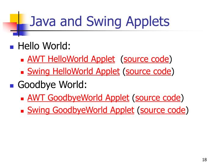 Java and Swing Applets