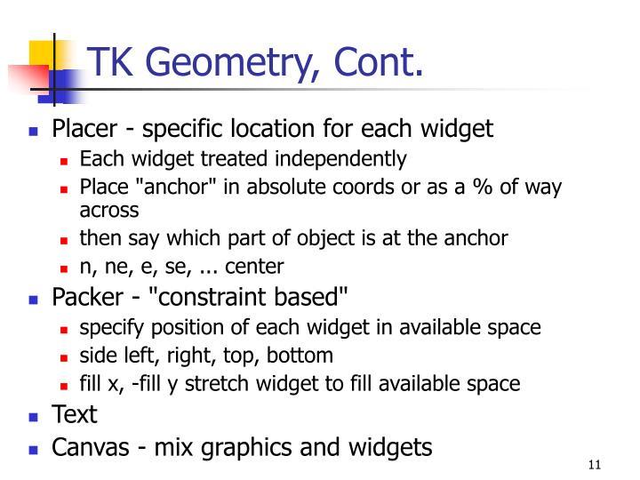 TK Geometry, Cont.