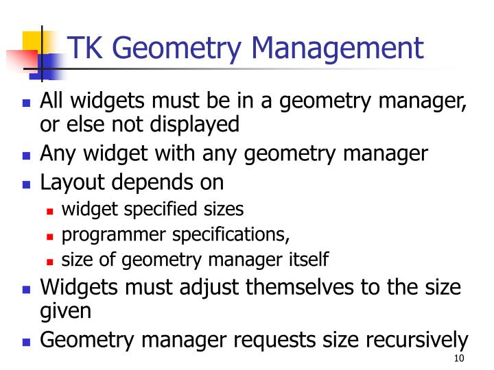 TK Geometry Management