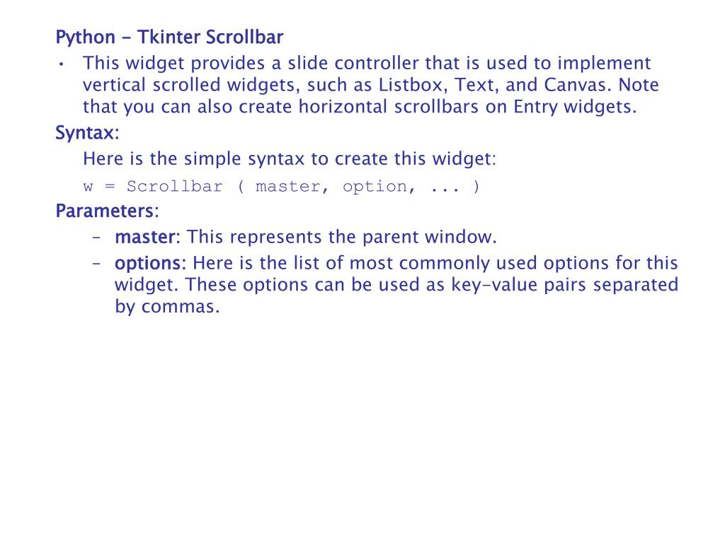 Tkinter scrollbar not working