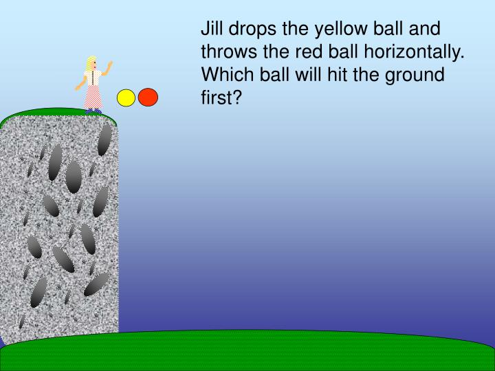 Jill drops the yellow ball and throws the red ball horizontally.  Which ball will hit the ground first?