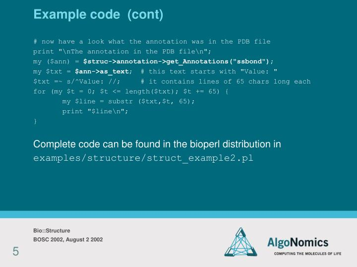 Example code  (cont)