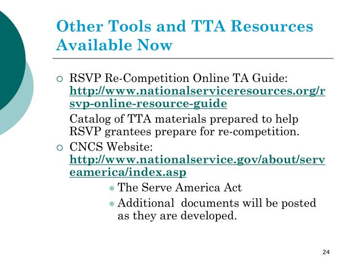 Other Tools and TTA Resources Available Now