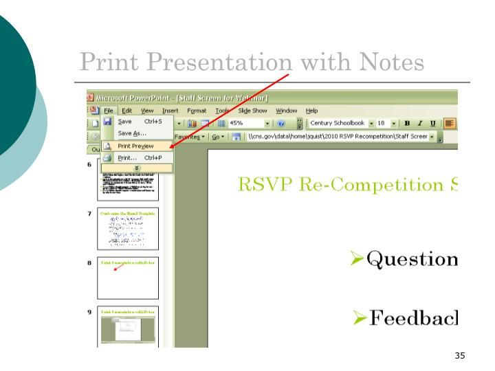 Print Presentation with Notes