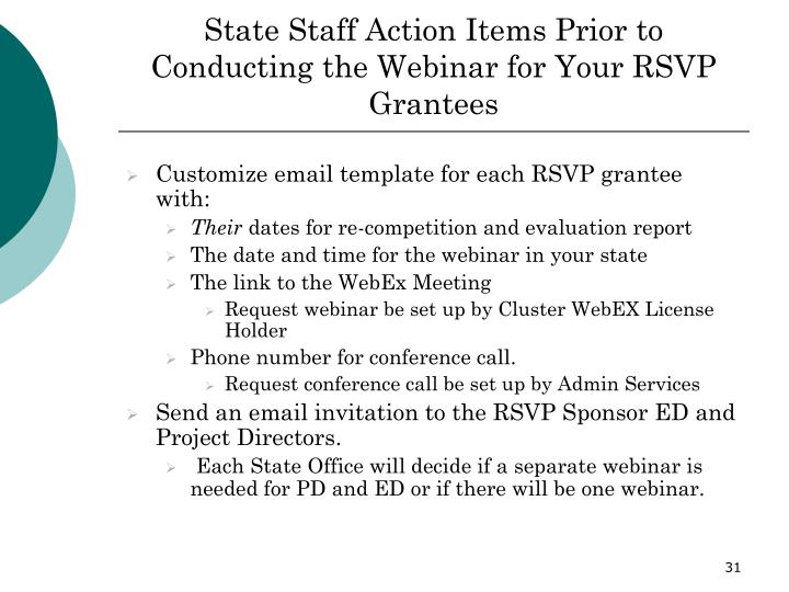 State Staff Action Items Prior to Conducting the Webinar for Your RSVP Grantees